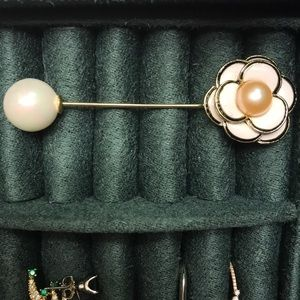 Authentic pink pearl brooch